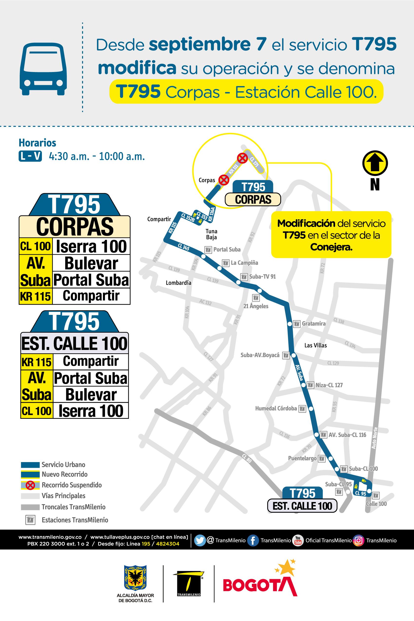 Mapa de la ruta T795 con novedades en su trayecto