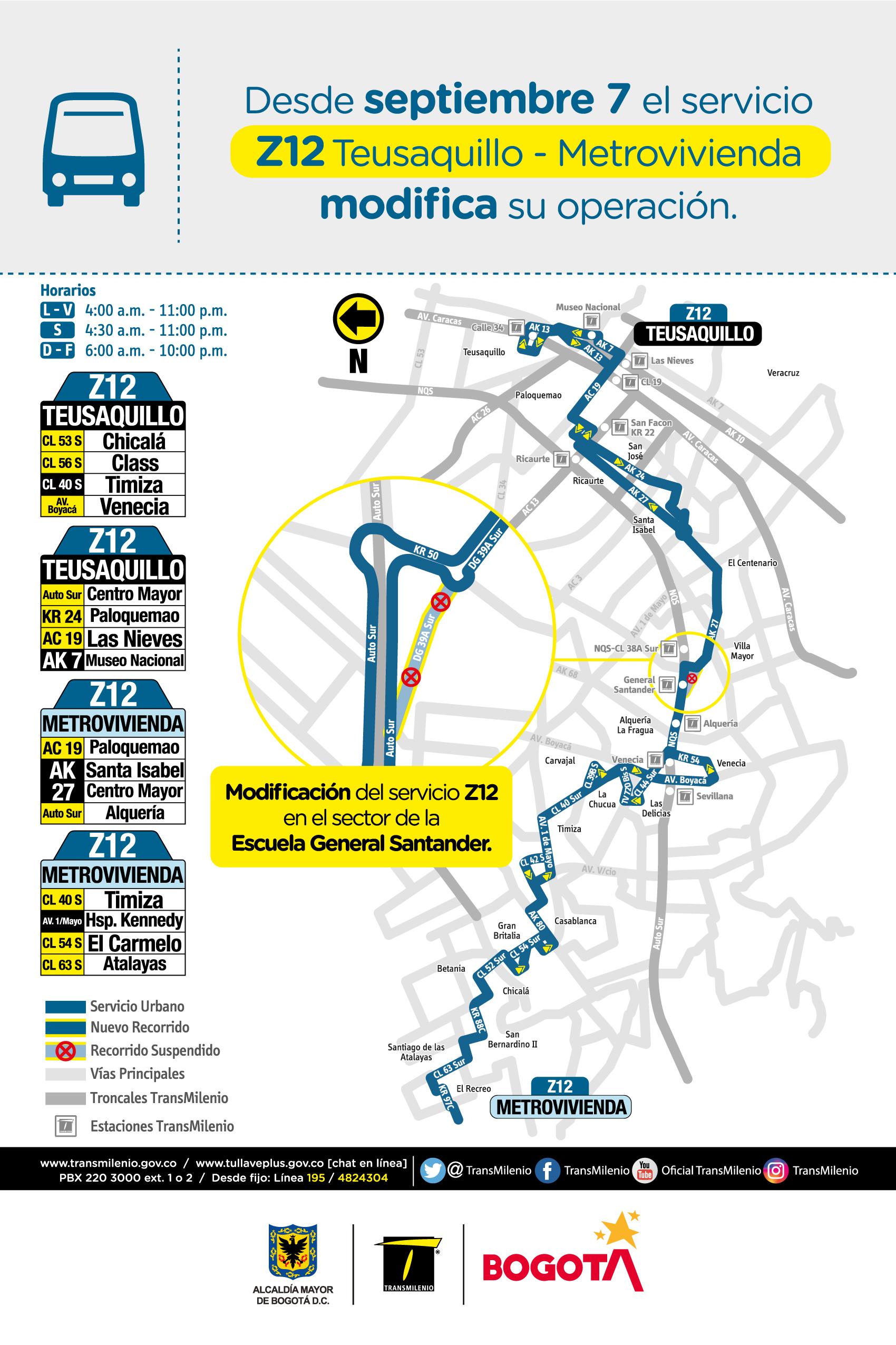 Mapa de la ruta Z12 con novedades en su trayecto