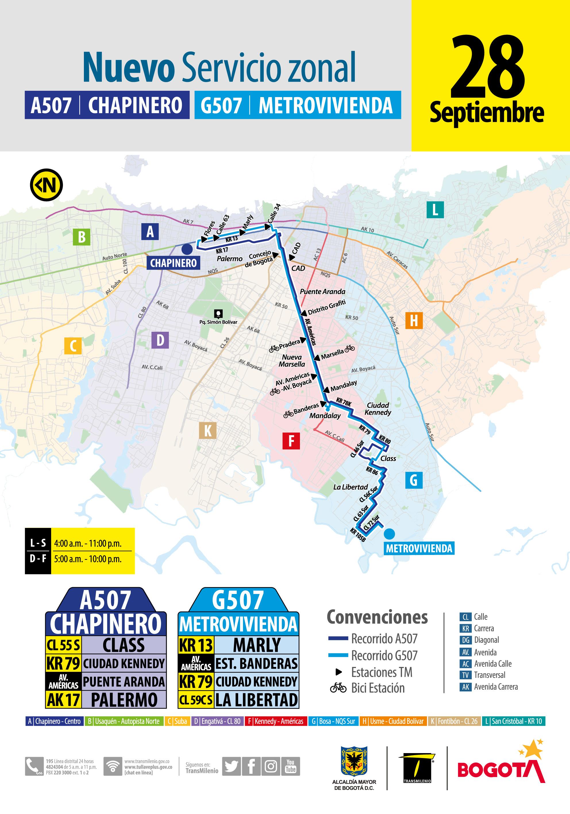 Mapa del servicio zonal A507-G507