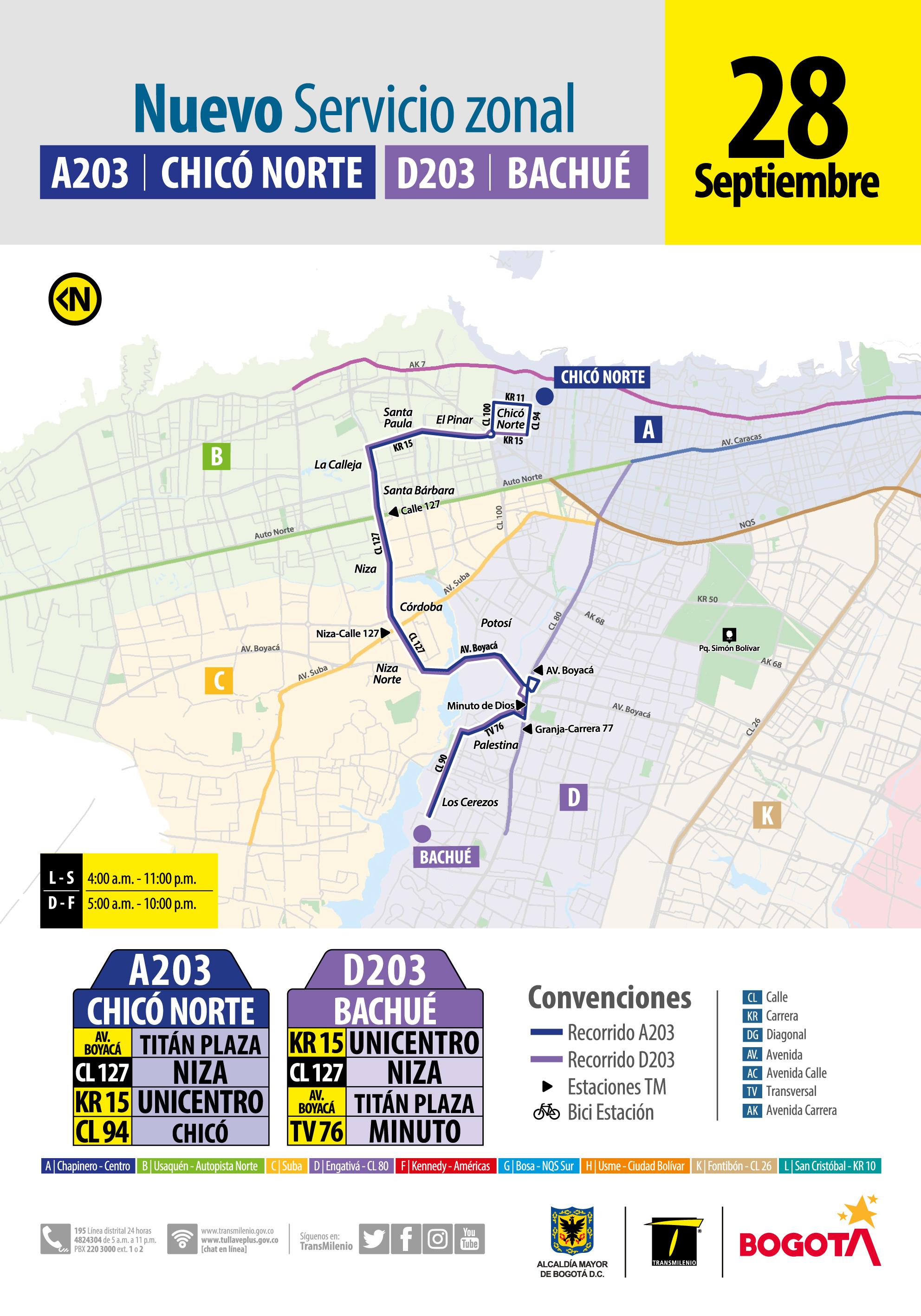 Recorrido de la ruta A203 D203