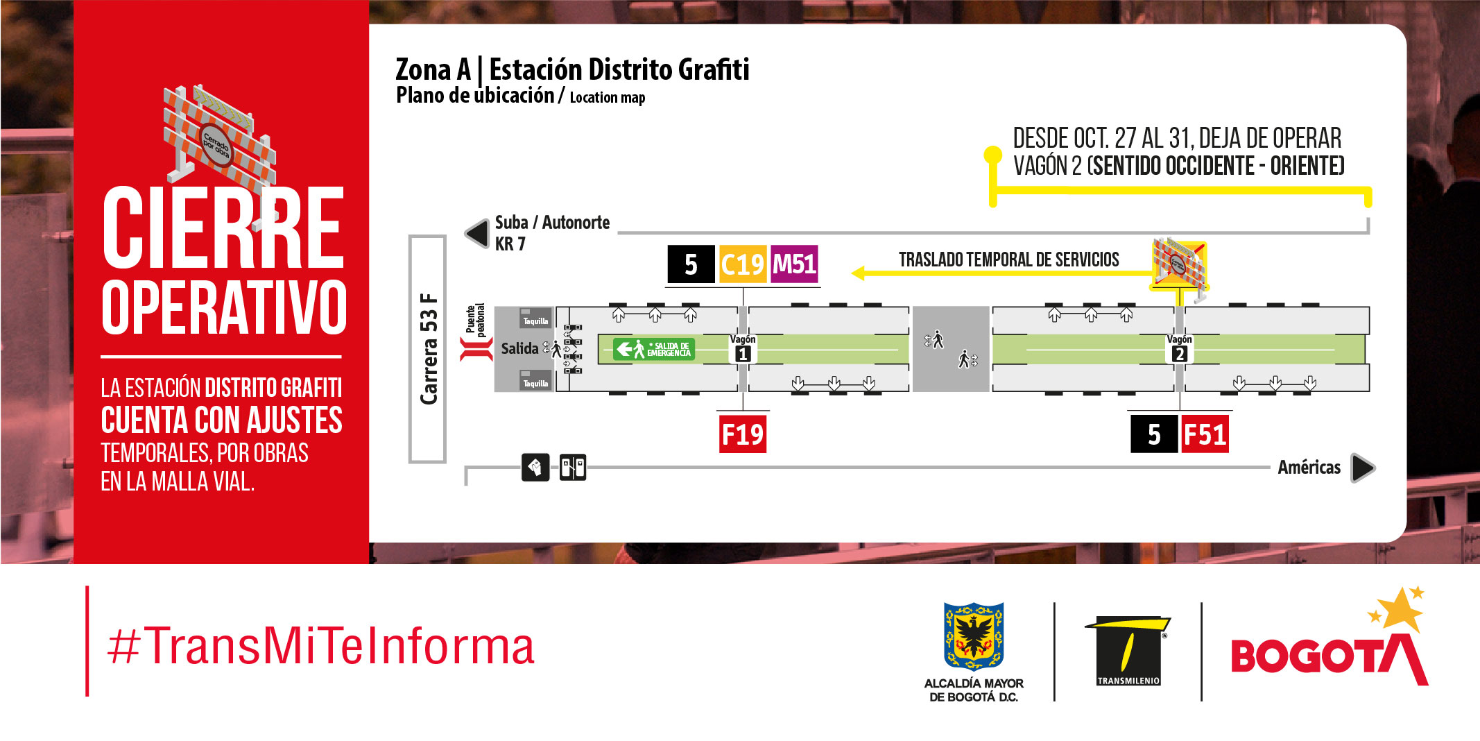 Plano de estación Distrito Grafiti, cierre temporal vagón 2 sentido occidente – oriente