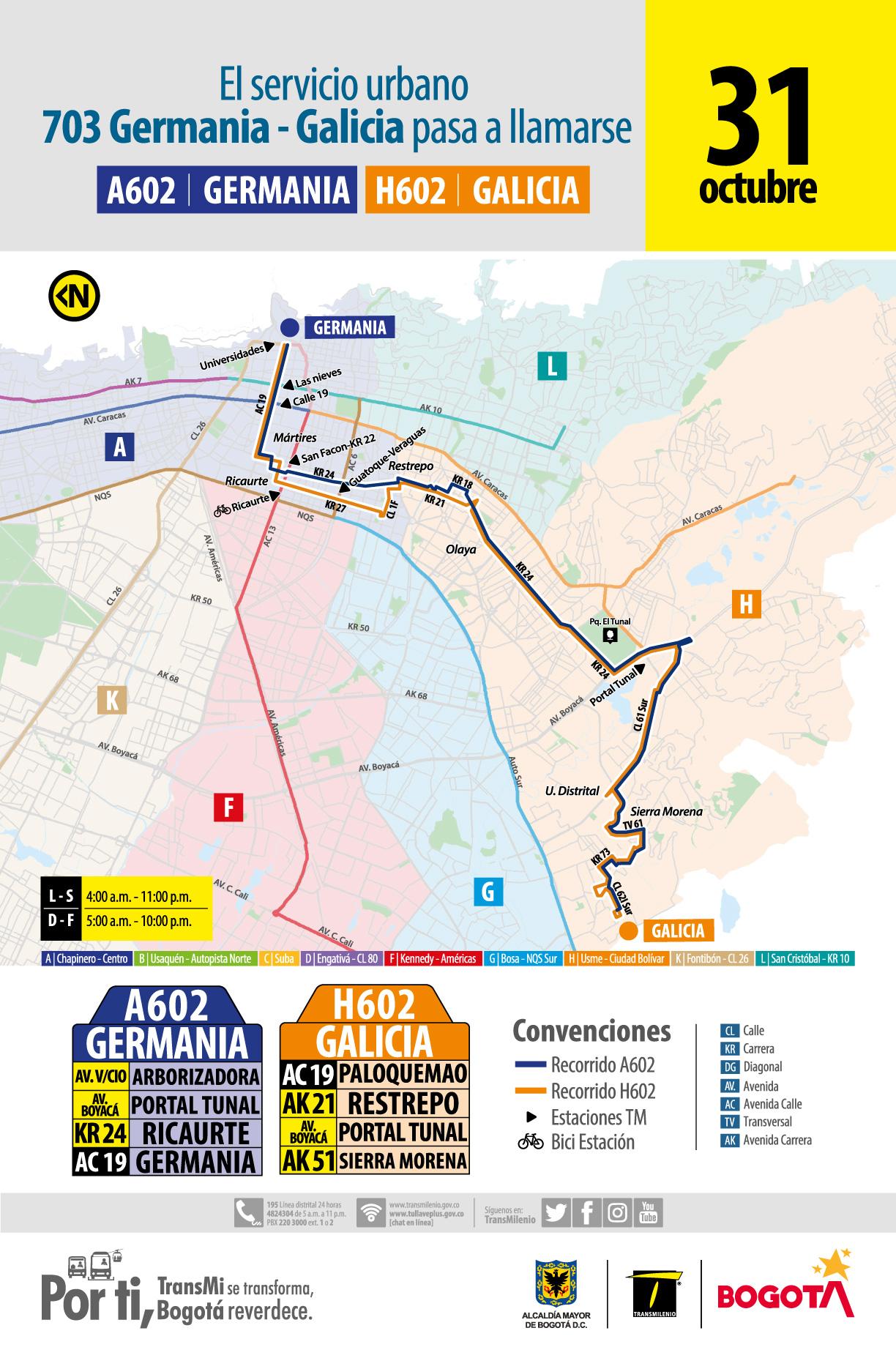 Recorrido de la ruta H602-A602