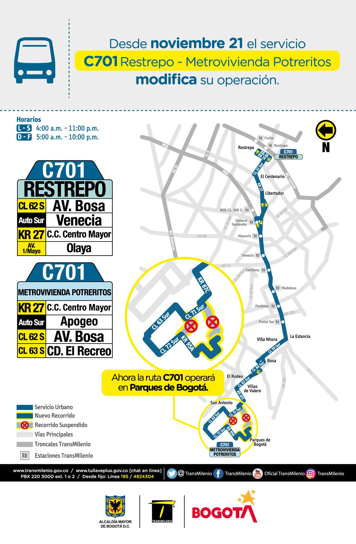 C701 Restrepo - Metrovivienda Potreritos modifica su operación