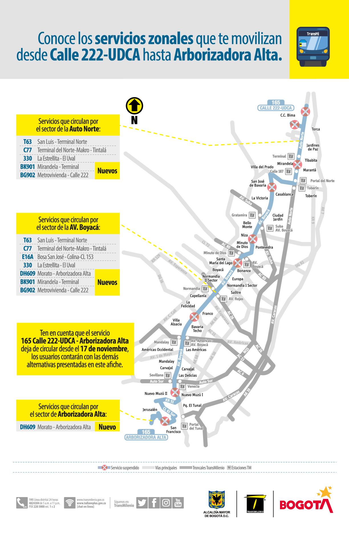 Rutas alternas por la calle 222-UCDA y Arborizadora Alta