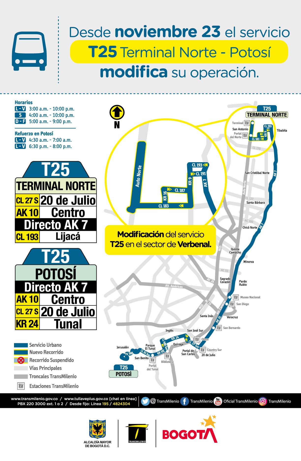 Desde el 23 de noviembre la ruta T25 Terminal Norte - Potosí modifica su ruta