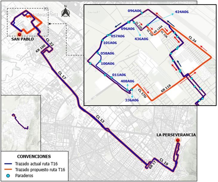 Ruta T16 Fontibón San Pablo - La Perseverancia