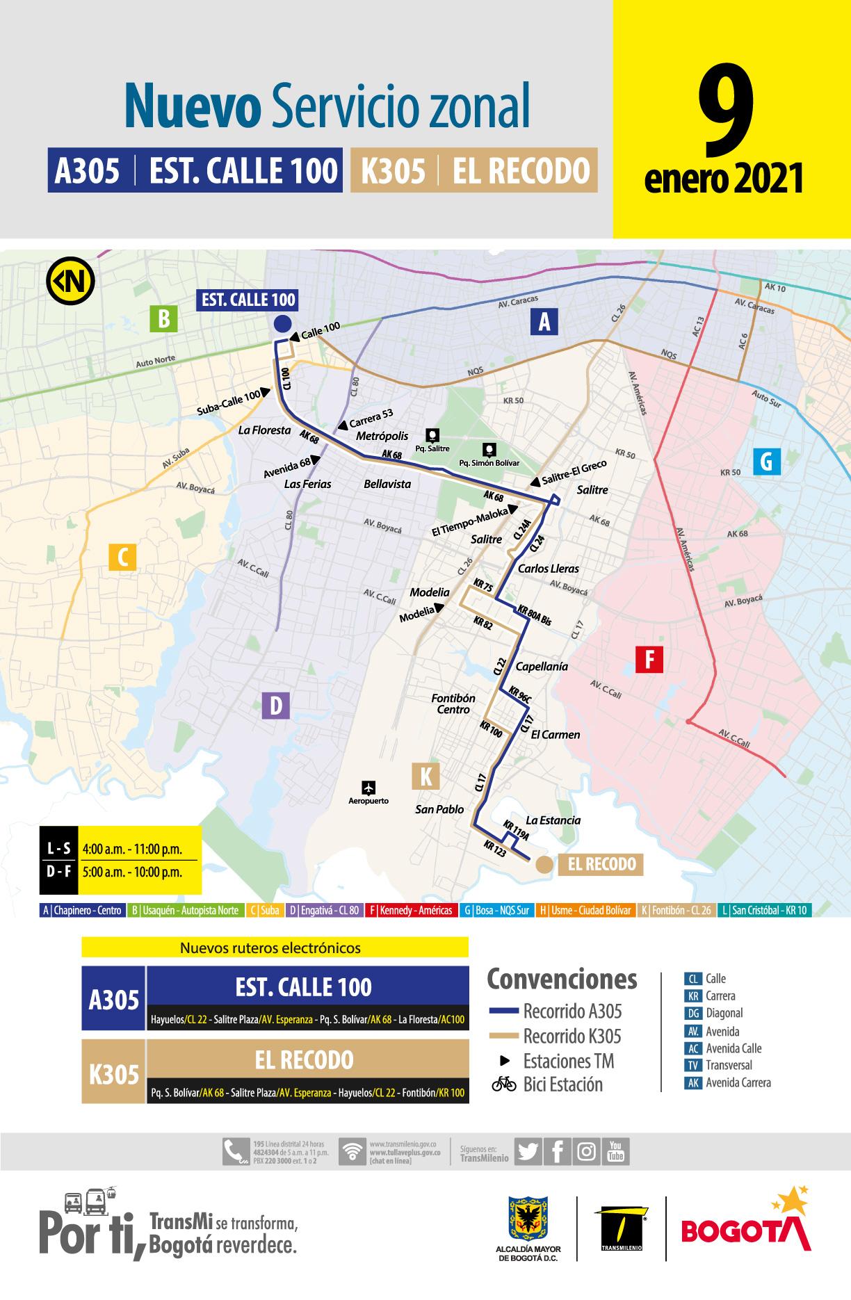 A305 Estación Calle 100 - K305 El Recodo