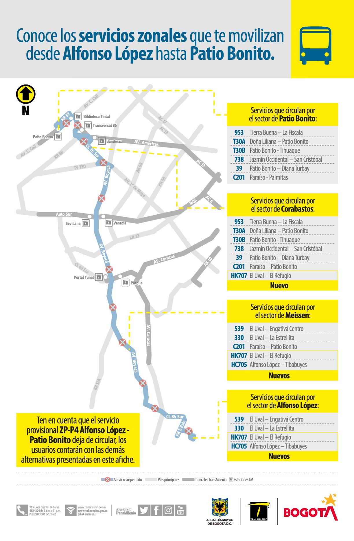 Mapa con alternativas de movilidad en los sectores de Alfonso López, en la localidad de Usme, y Patio Bonito
