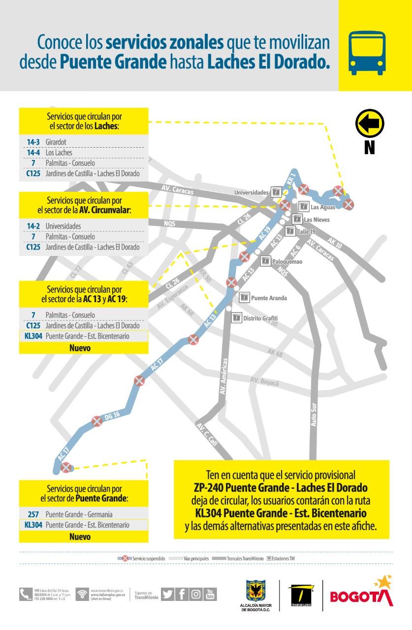 Mapa del sector Puente Grande, en la localidad de Fontibón