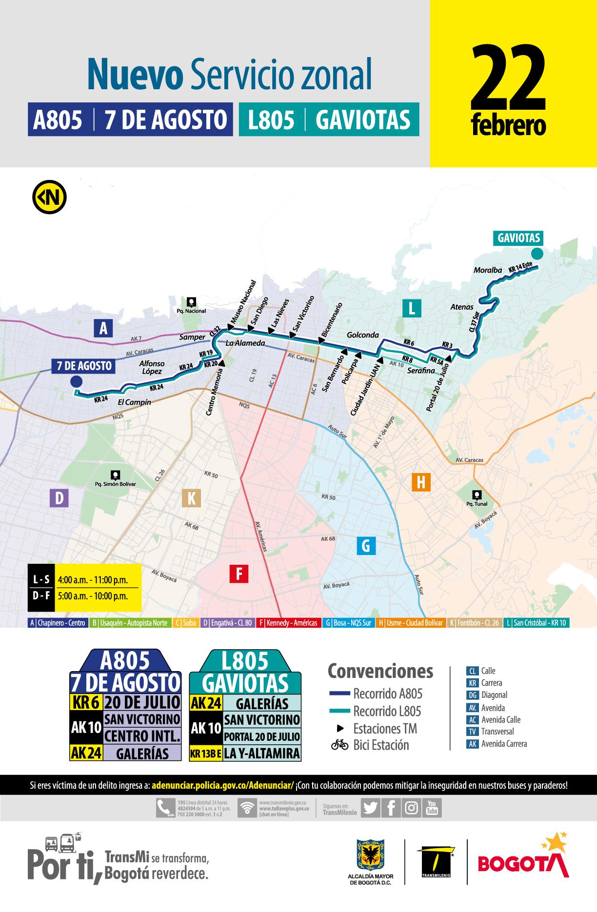 Mapa ruta A805 7 de Agosto - L805  Gaviotas