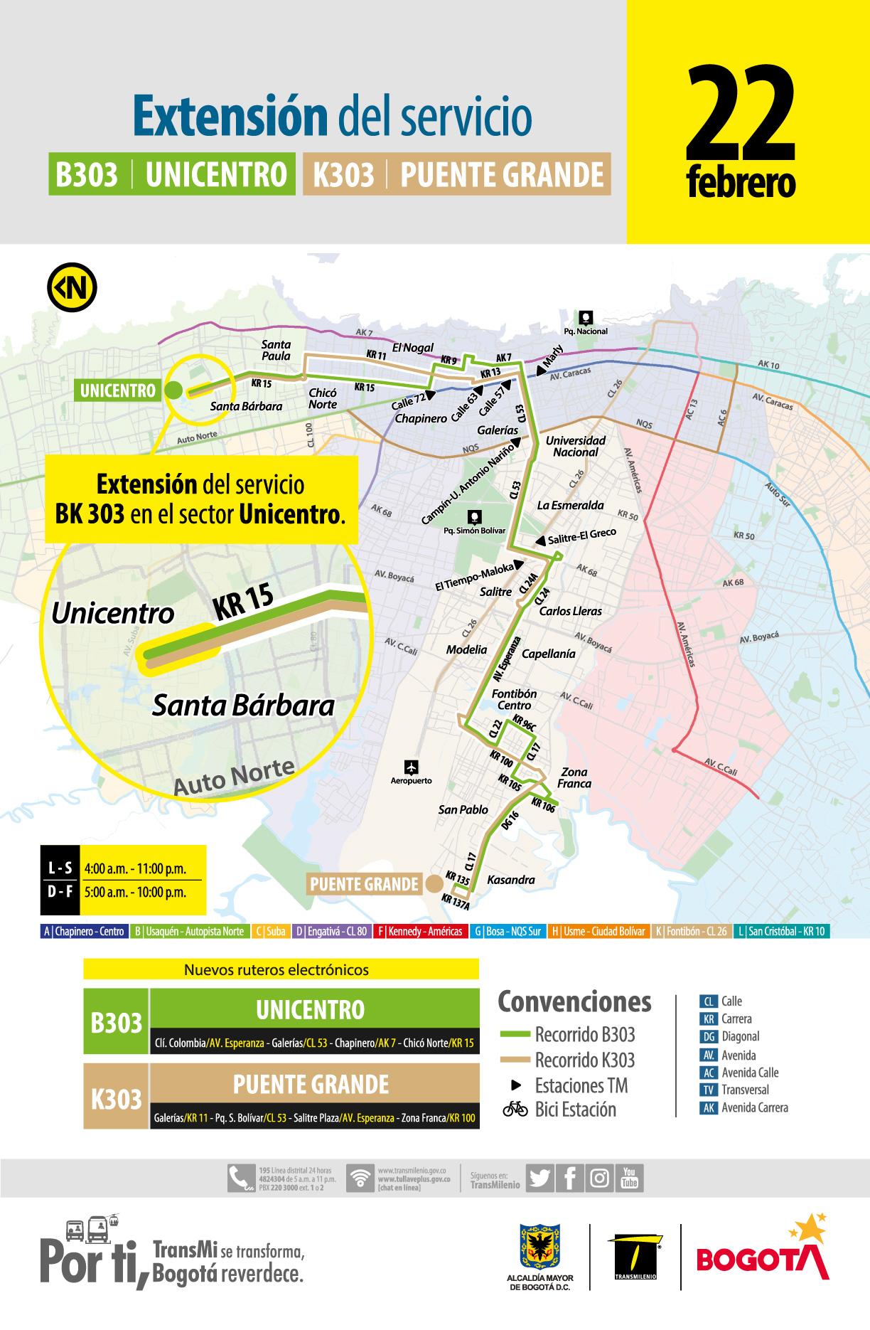 Mapa de la ruta B303 Unicentro - K303 Puente Grande