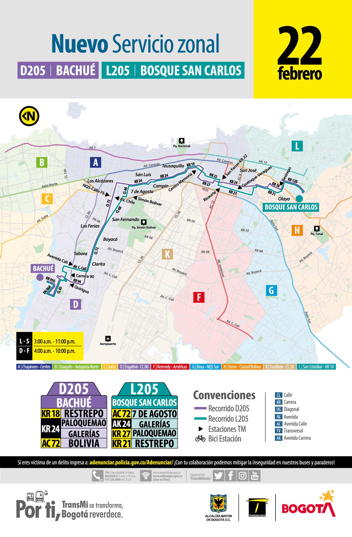 Mapa de la ruta D205 Bachué - L205 Bosque San Carlos