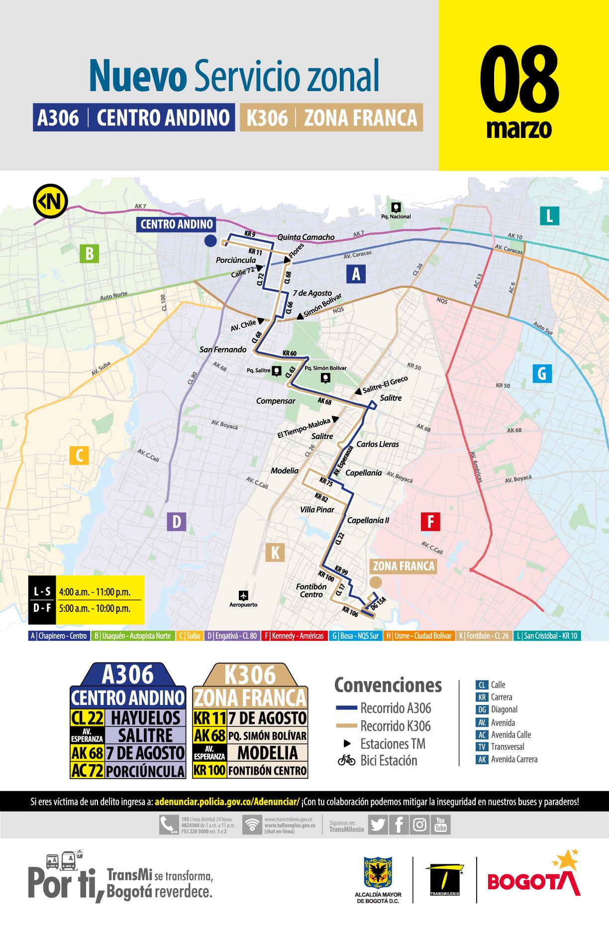 Mapa ruta A306 Centro Andino - K306 Zona Franca