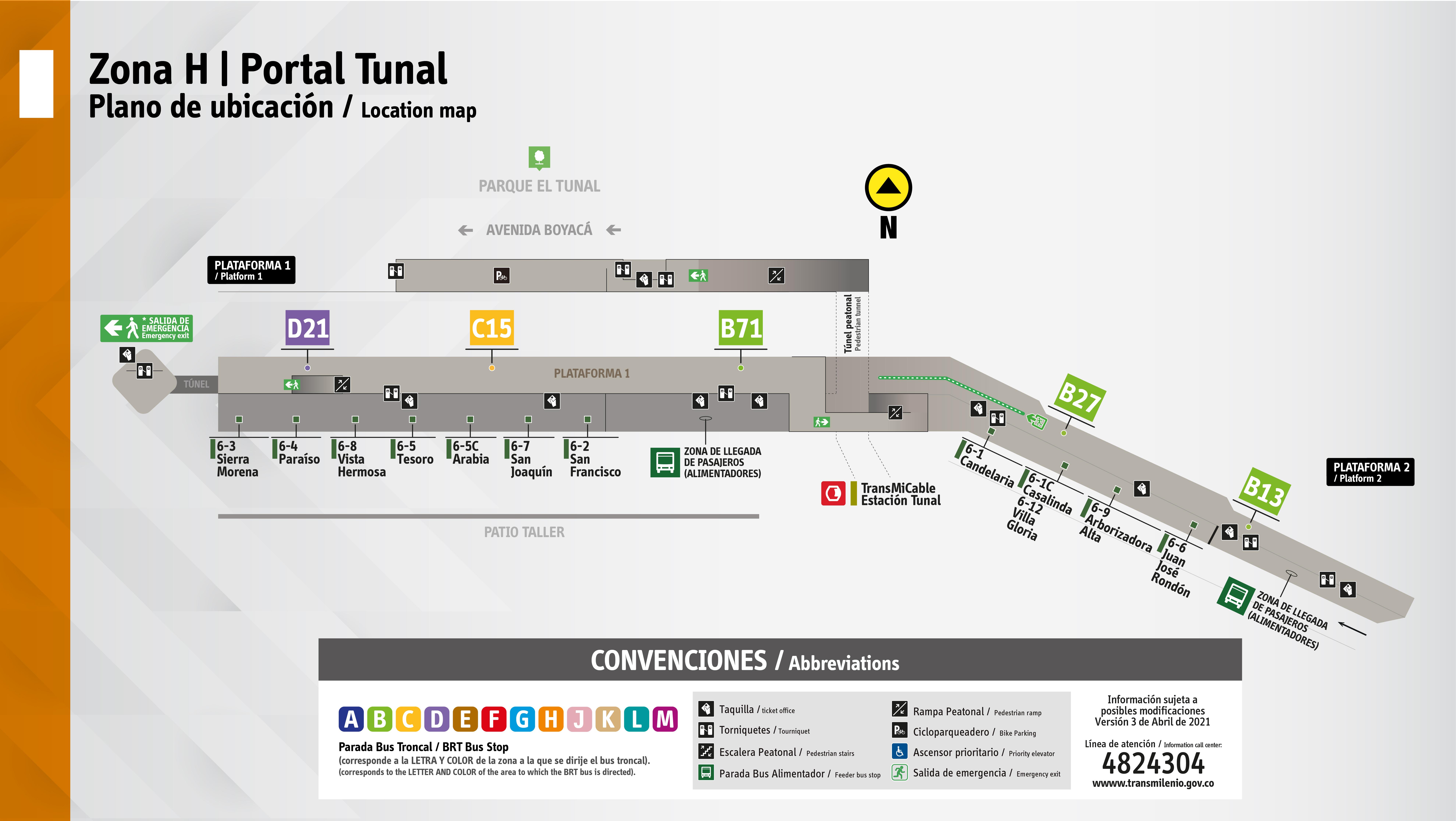 Plano de plataformas del portal Tunal