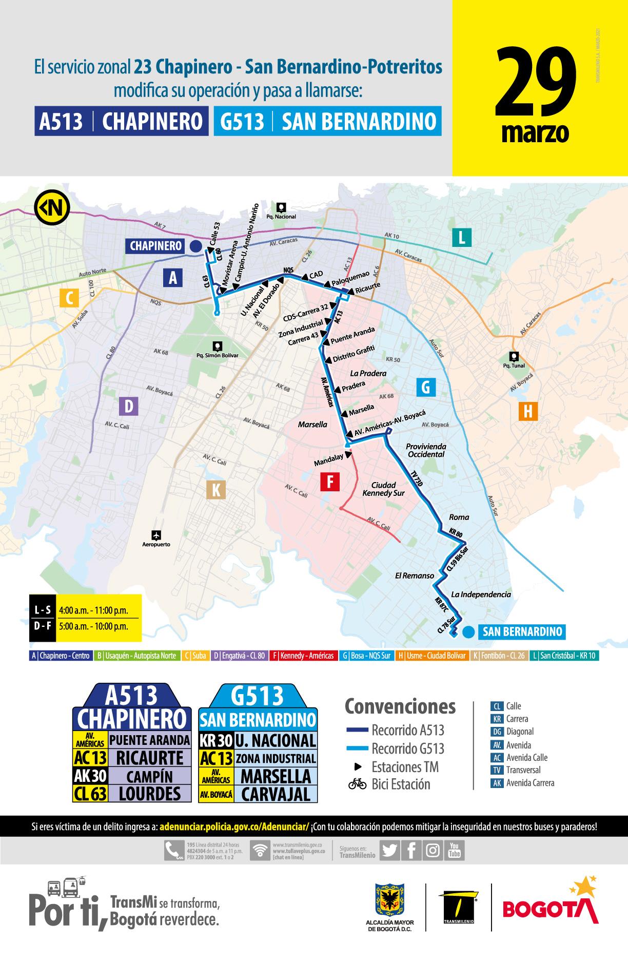 La ruta 23 Chapinero – San Bernandino – Potreritos pasará a llamar A513 Chapinero – G513 San Bernandino