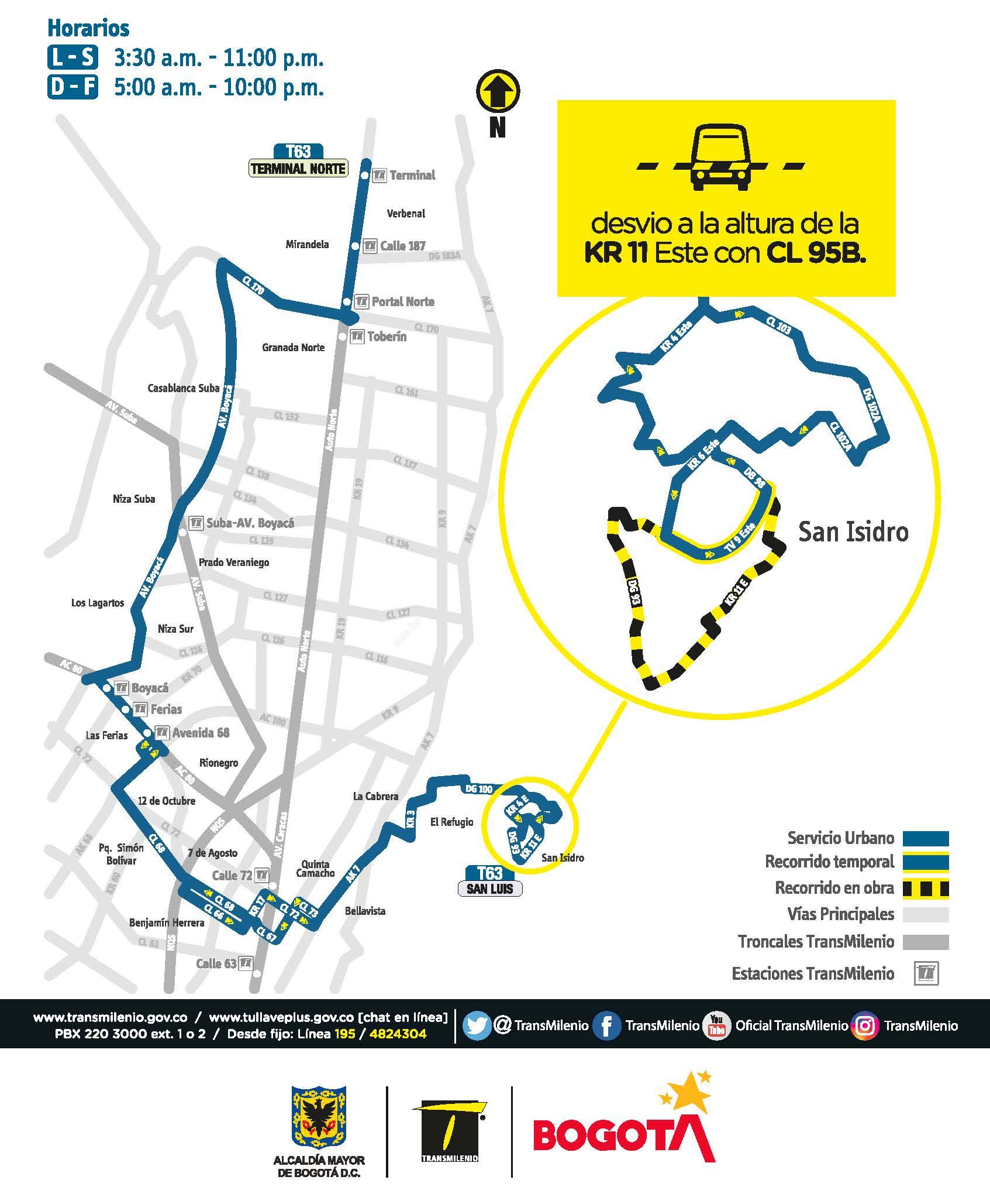 A partir del 5 de abril la ruta zonal T63 Terminal Norte - San Luis modificará su recorrido en el sector de San Luis