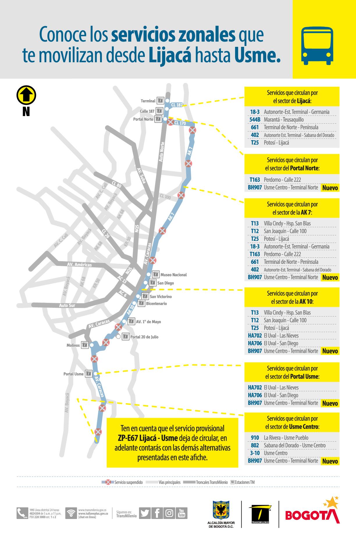 ruta provisional ZP-E67 Lijacá - Usme que dejará de circular a partir del próximo sábado 1 de mayo de 2021