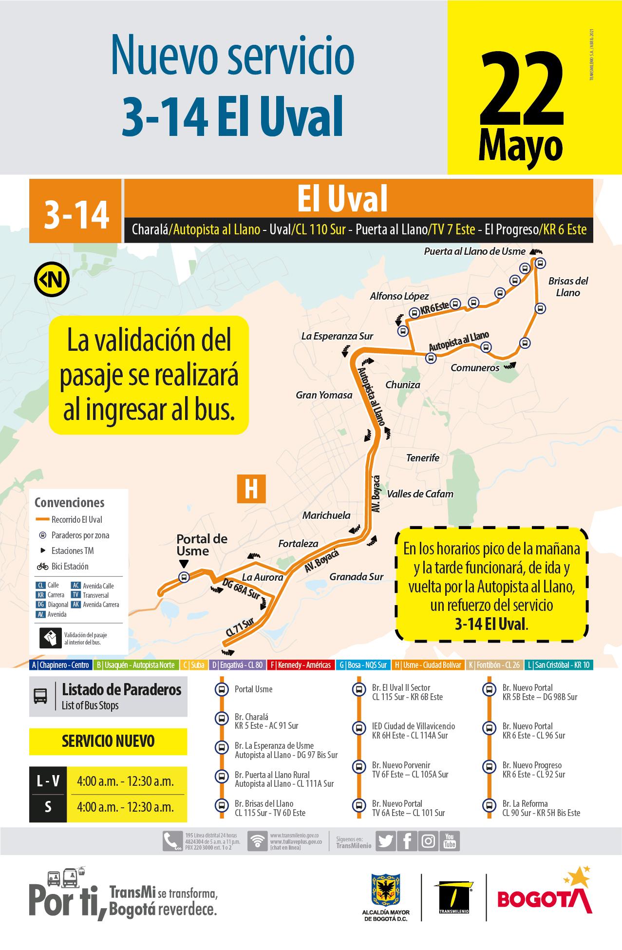 3-14 El Uval  (Nuevo Servicio)