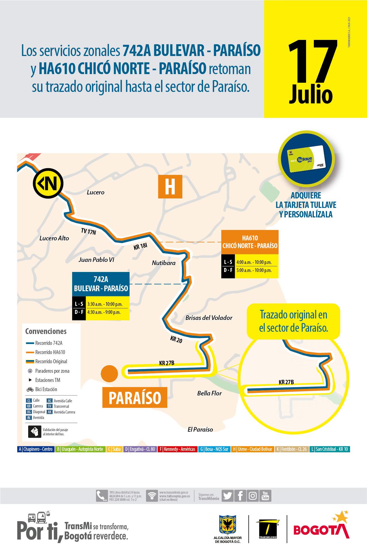 42A Bulevar Niza Paraíso y HA610 Chicó Norte Paraíso vuelven a transitar por el sector del Paraíso