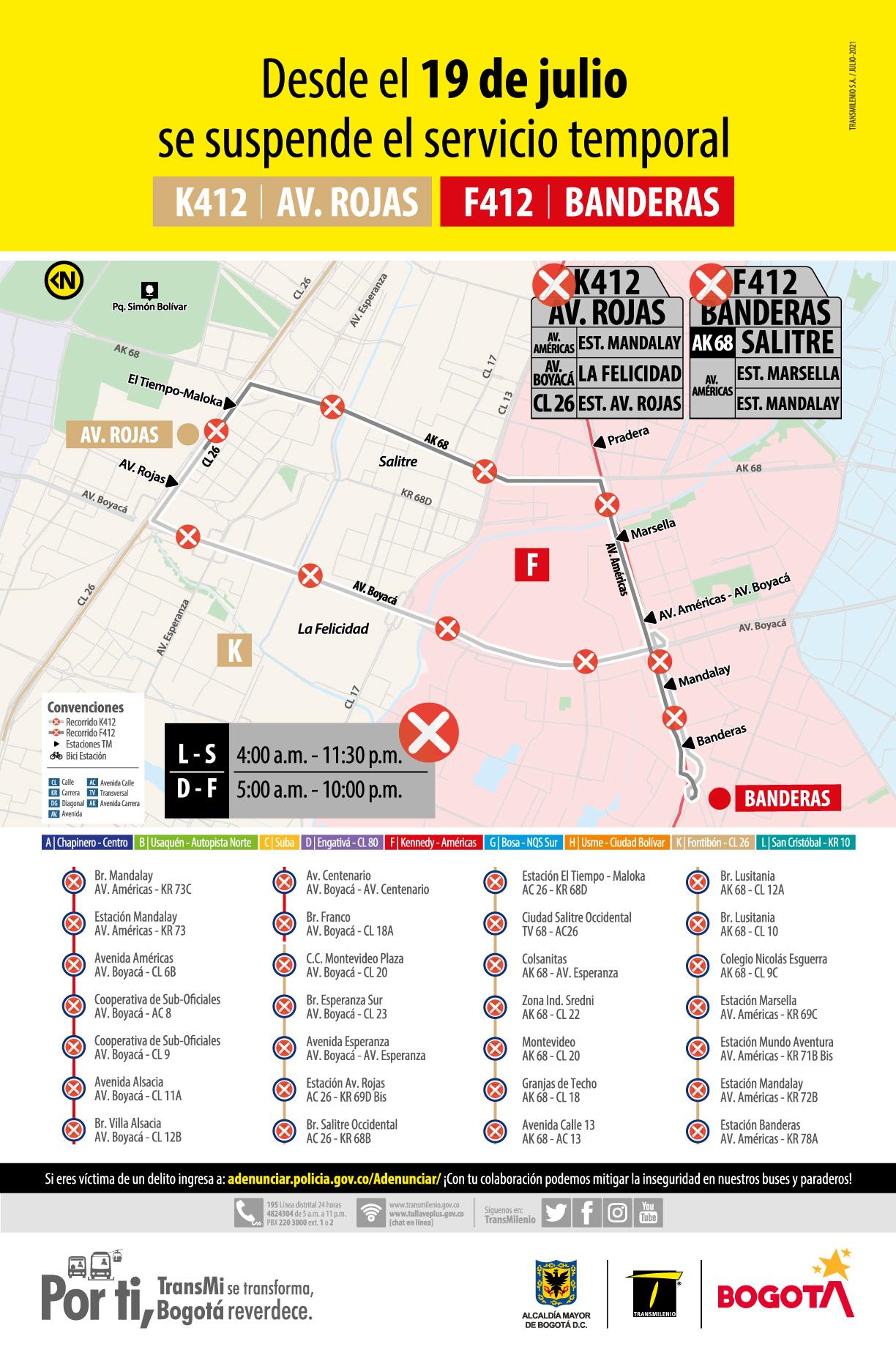Servicio temporal K412 Avenida Rojas - F412 Banderas tiene cambios en su operación