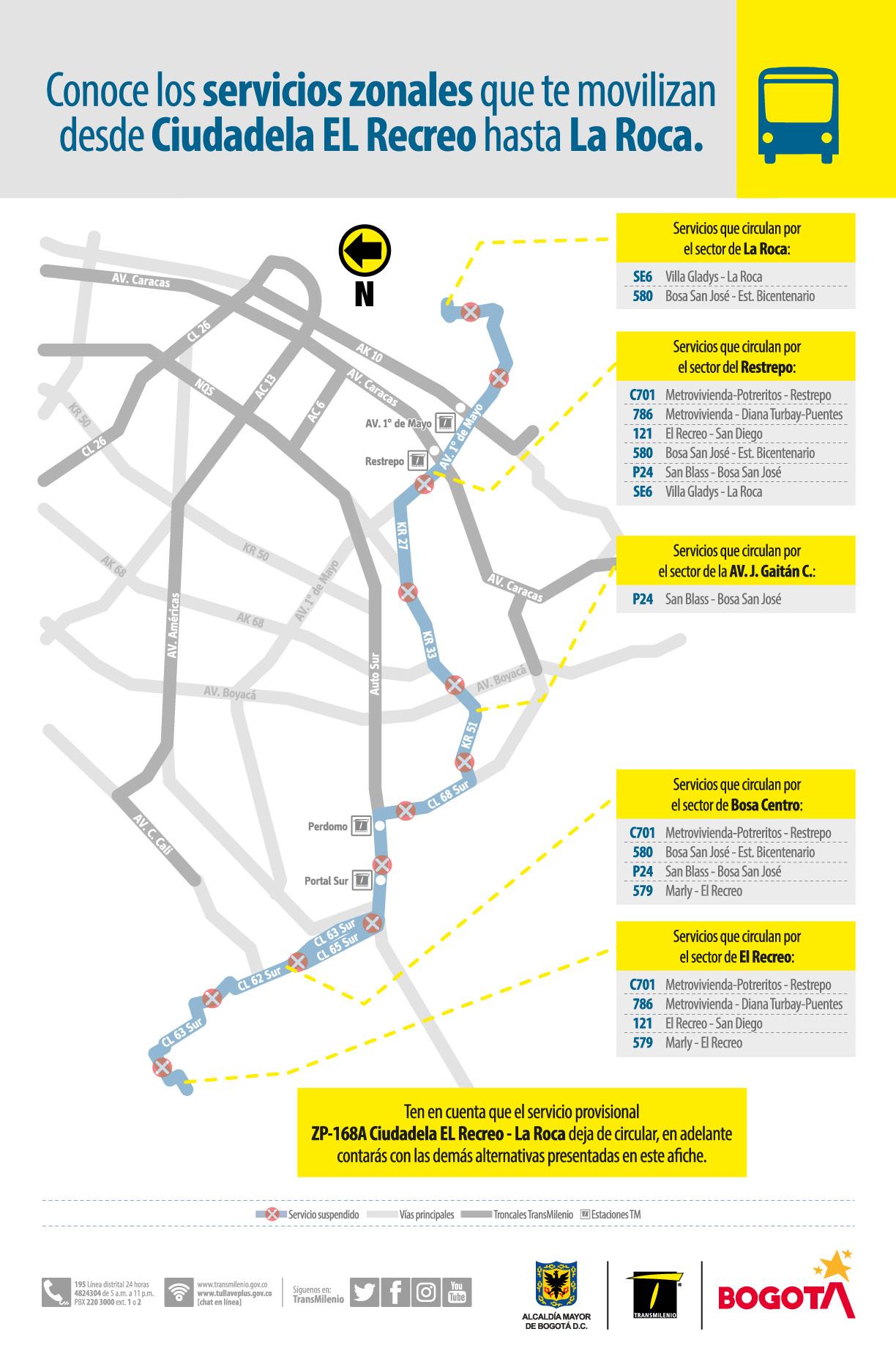 ruta provisional ZP-168A Ciudadela El Recreo - La Roca, sale de operación el 24 de julio