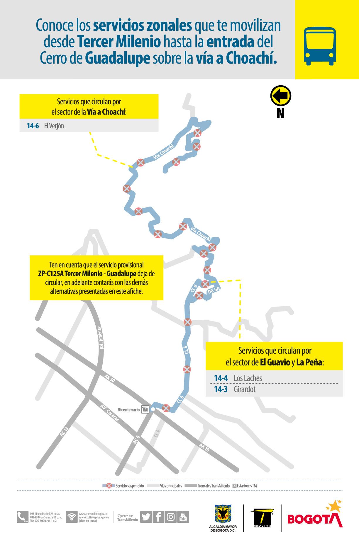 Con estas rutas puedes movilizarte entre el sector de Tercer Milenio y la entrada del cerro de Guadalupe vía Choachí