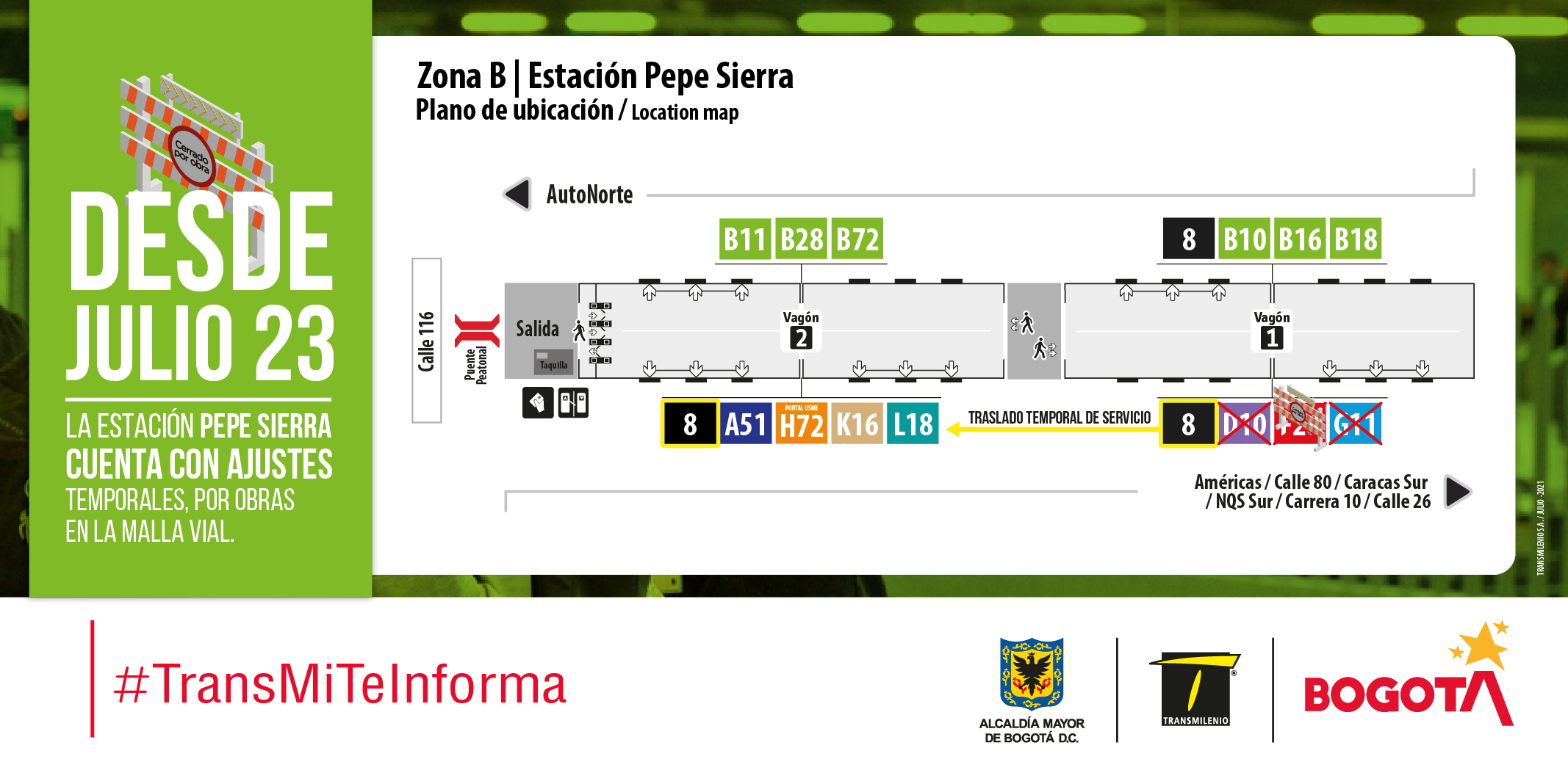 Estación Pepe Sierra cuenta con ajustes temporales