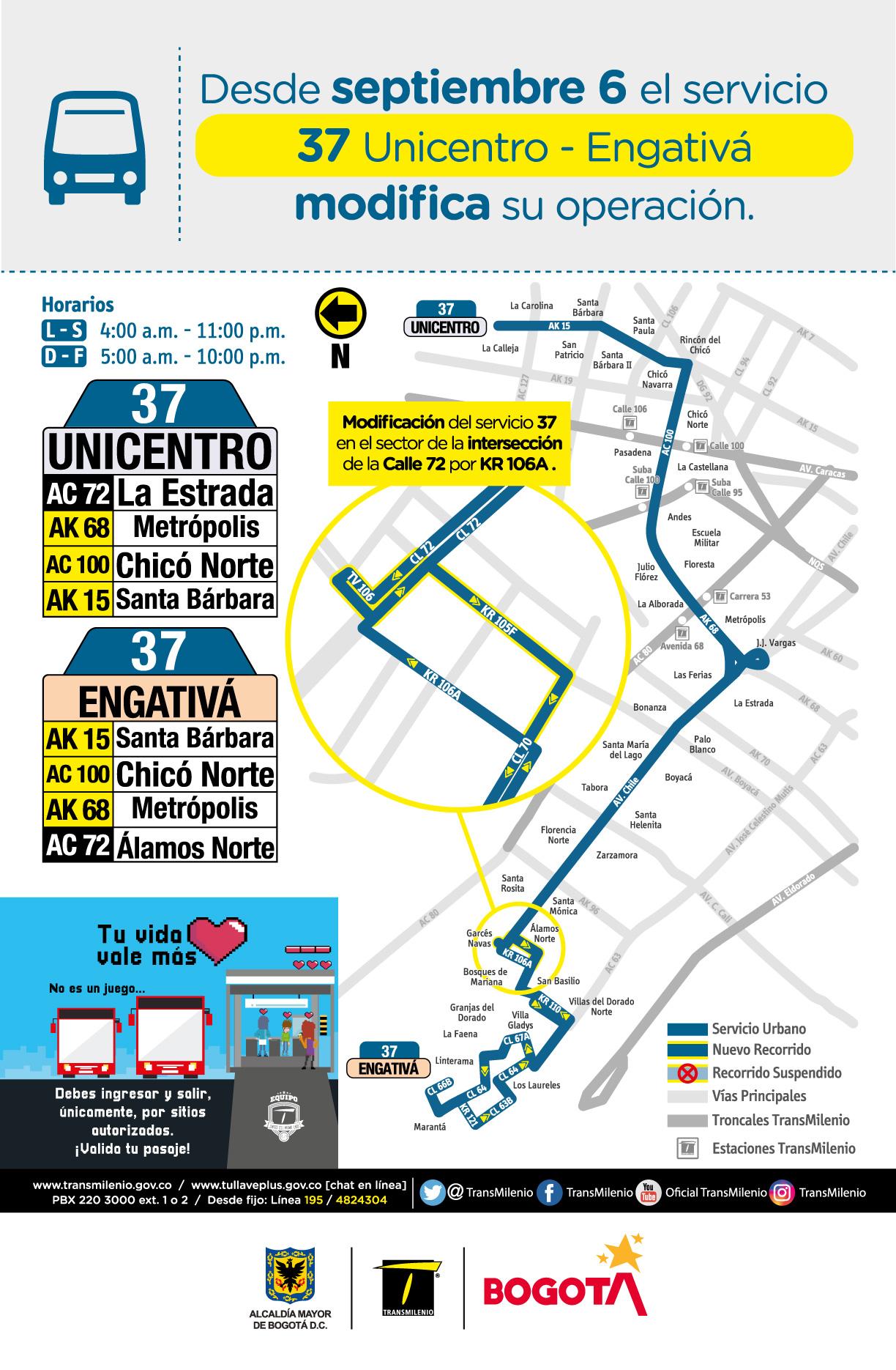 Servicio zonal 37 Unicentro - Engativá modifica su operación