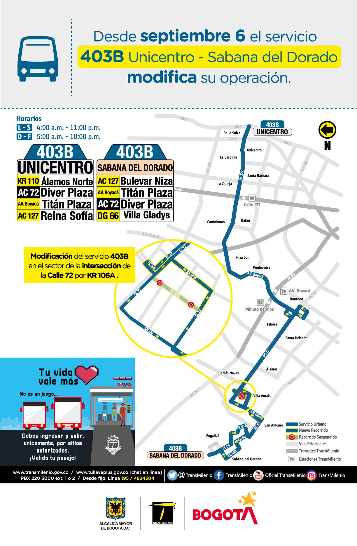 Servicio zonal 403B Unicentro - Sabanas del Dorado modifica su operación