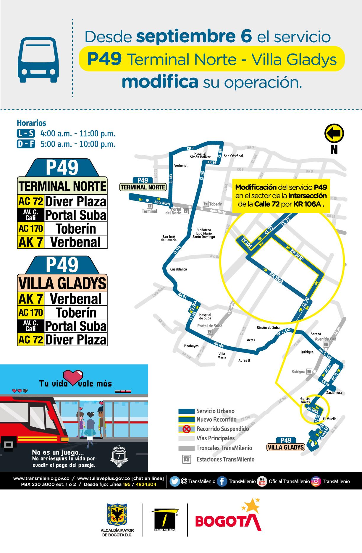 Servicio P29 Terminal Norte - Vila Gladys modifica su operación