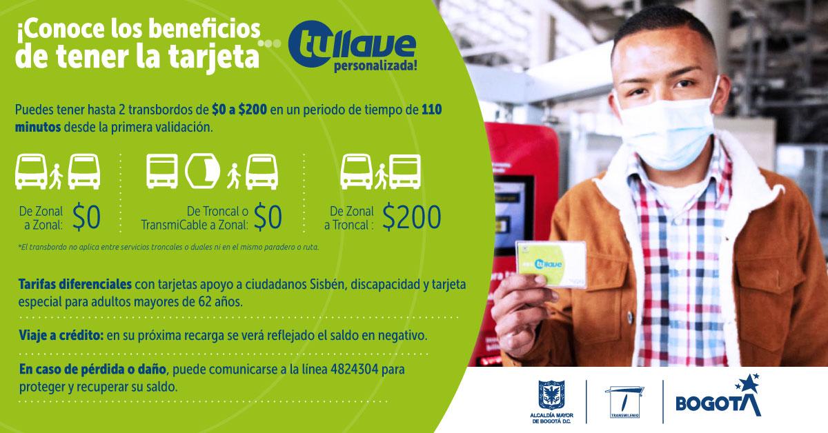 Beneficios de la tarjeta Tullave personalizada, hasta 2 transbordos en 110 minutos