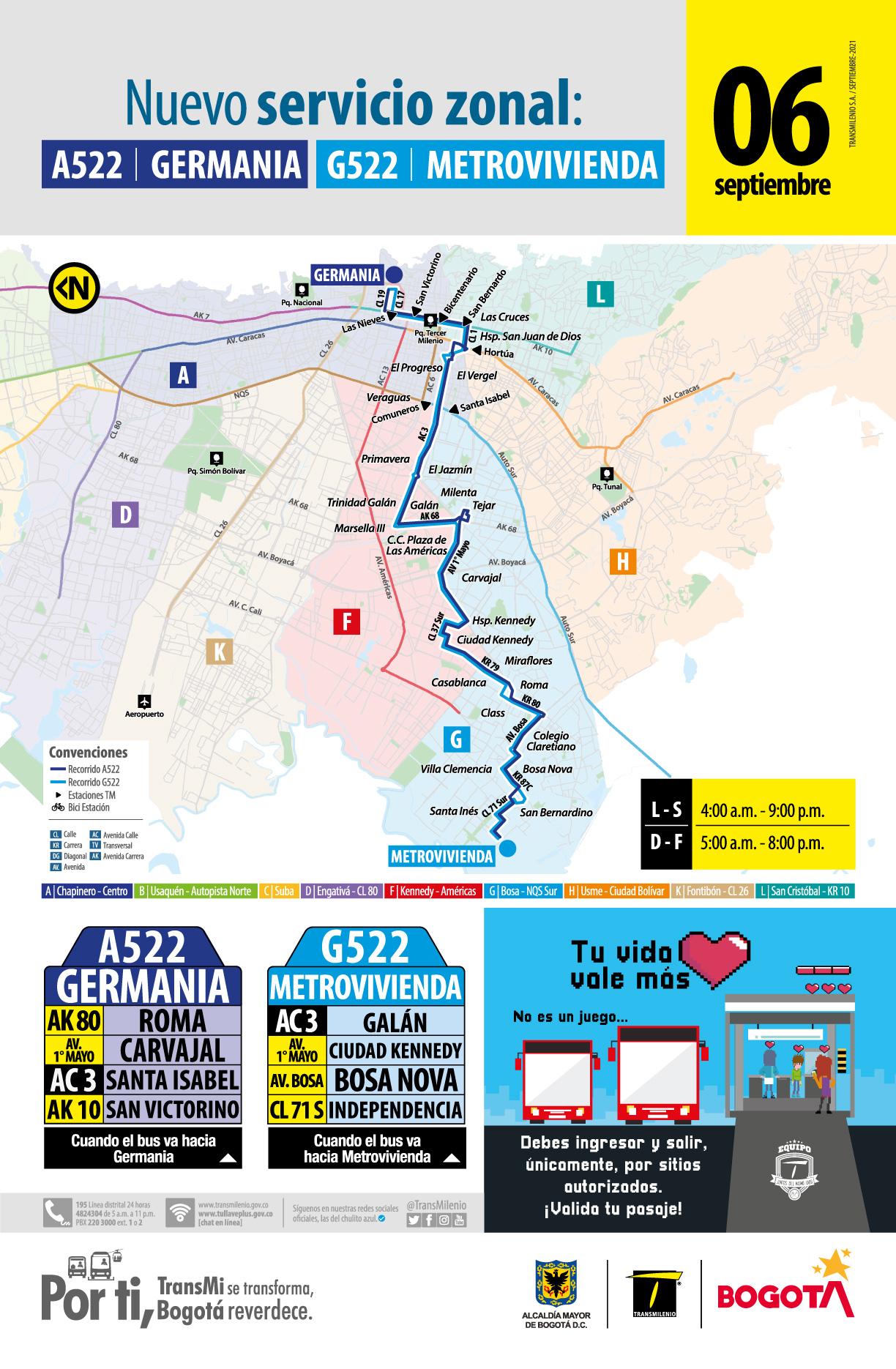 Nuevo servicio zonal A522 Germania - G522 Metrovivienda