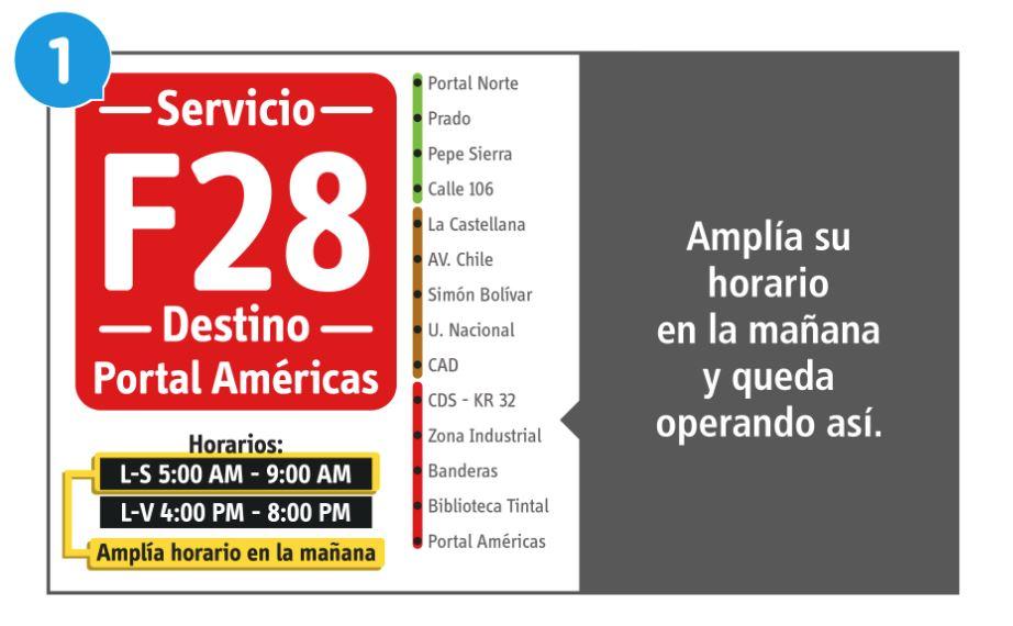 Se amplía horarios en la mañana del servicios  F28 L-S 5:00 am-9:00 am