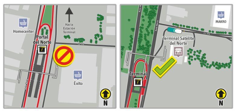 Mapa del anterior y nuevo paradero de los servicios interdepartamentales que se ubicaban en la Calle 170