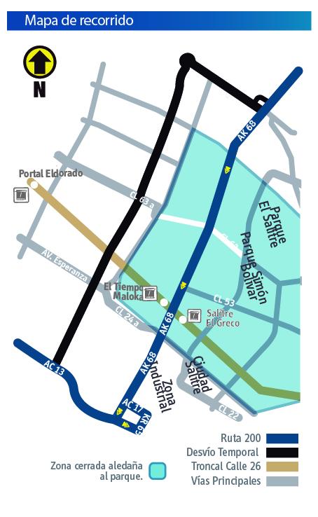 Mapa del recorrido de la ruta 200 con su respectivo desvio