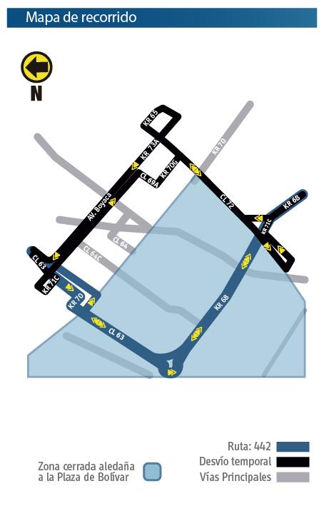 Mapa del recorrido de la ruta Z8 con su respectivo desvio