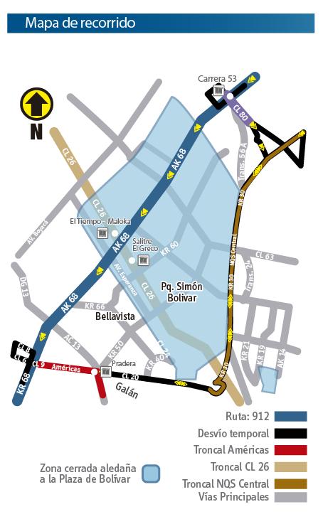 Mapa del recorrido de la ruta zonal 912