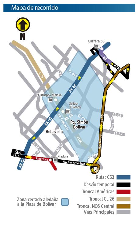Mapa del recorrido de la ruta zonal C53