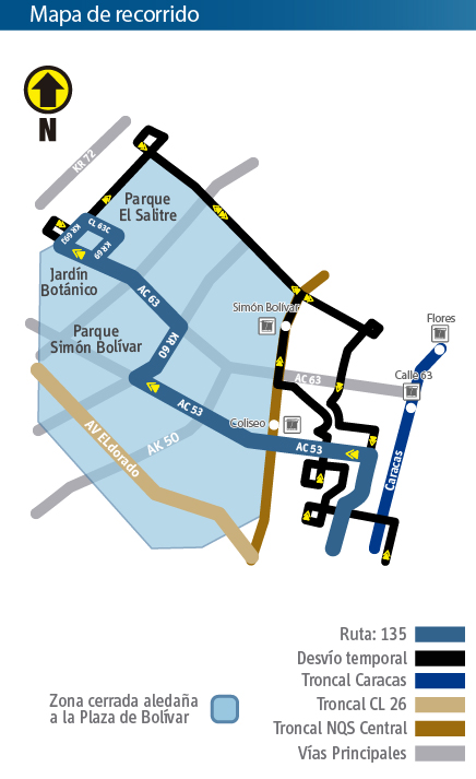 Mapa del recorrido de la ruta zonal 135