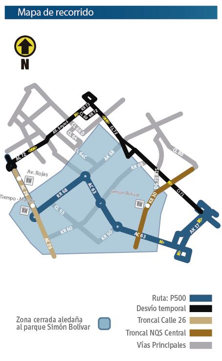 Mapa del recorrido con sus desvíos de la Ruta P500