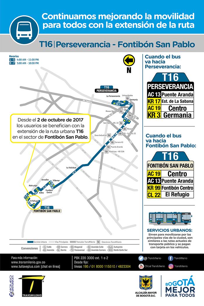Mapa de la ruta urbana T16