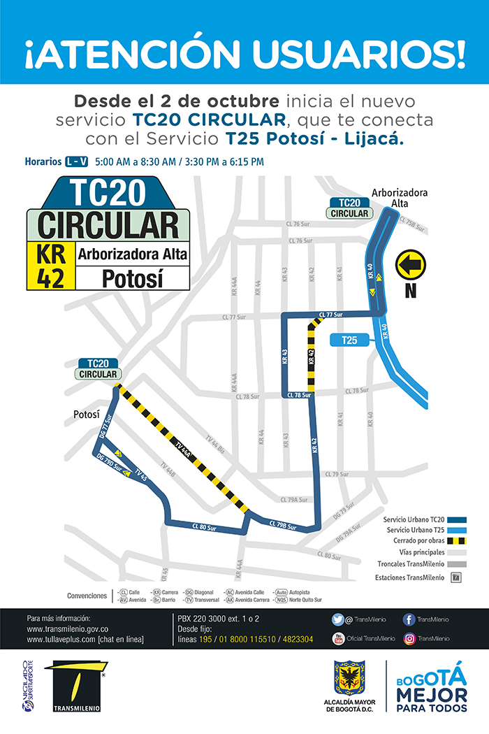 Mapa de la ruta TC20 Circular