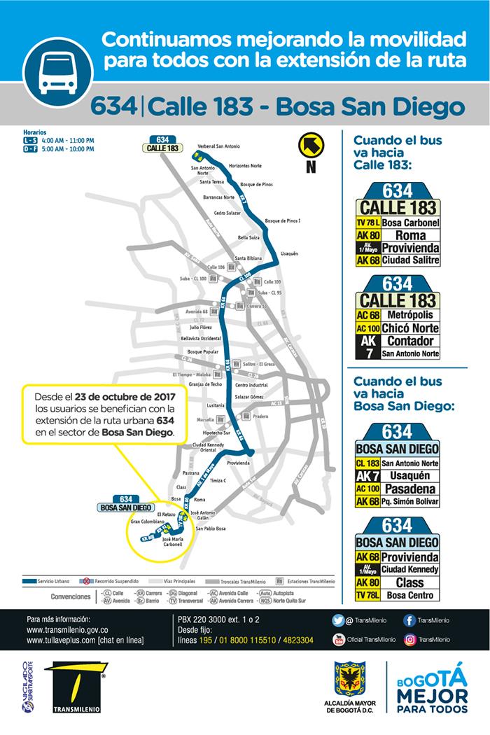 Mapa de la ruta urbana 634 indicando el punto donde se extiende su recorrido