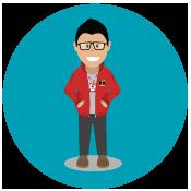 Personaje ilustrado  con la chaqueta de TransMilenio