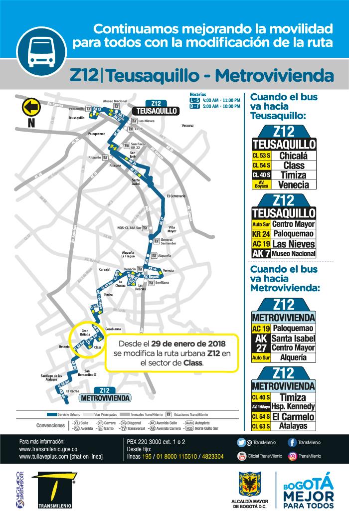 Mapa de la ruta urbana Z12 con el ajuste operacional