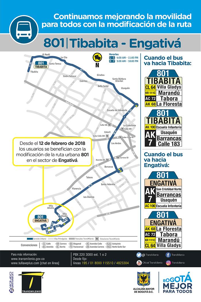 Mapa del ajuste de la ruta urbano 801