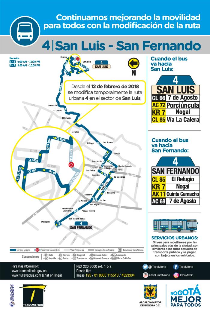 Mapa con el cambio operacional de la ruta urbano 4