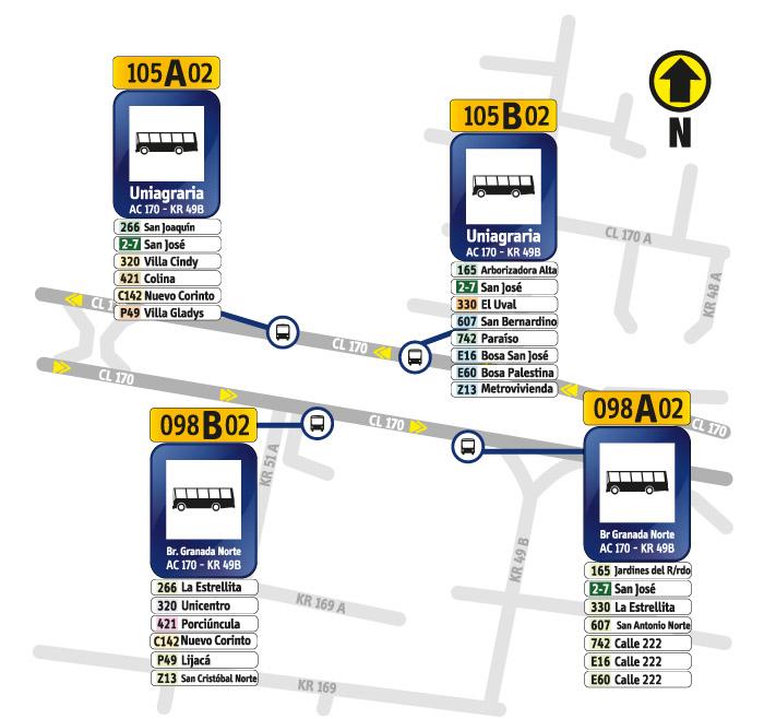 Paraderos de Avenida Calle 170 y Carrera 49B