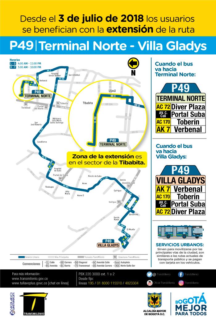 Mapa de la ruta P49 con su modificación