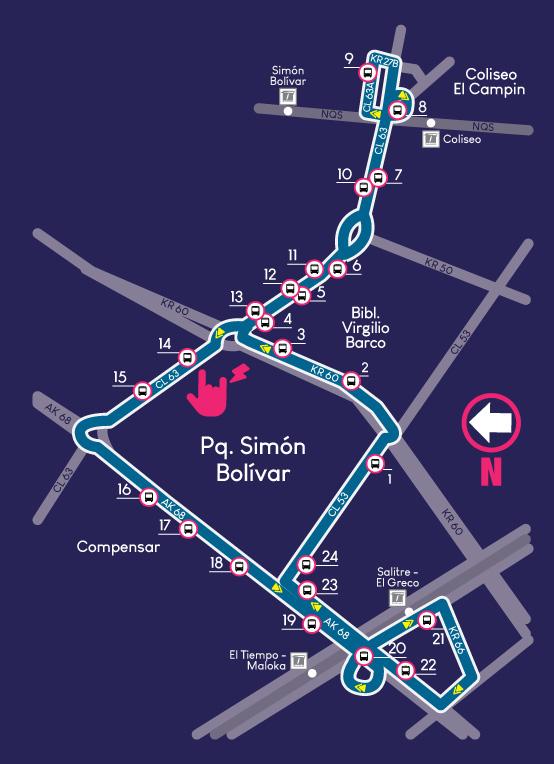 Mapa de la ruta de Rock al Parque 2018